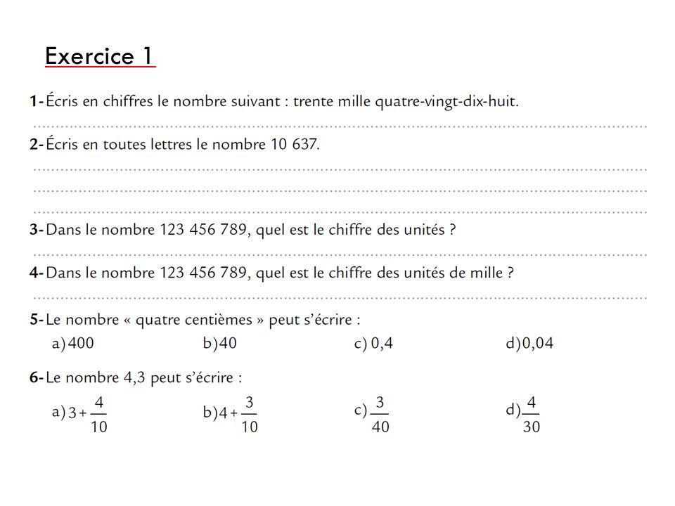 chiffre 1 2 3 4 6ème Mathématiques