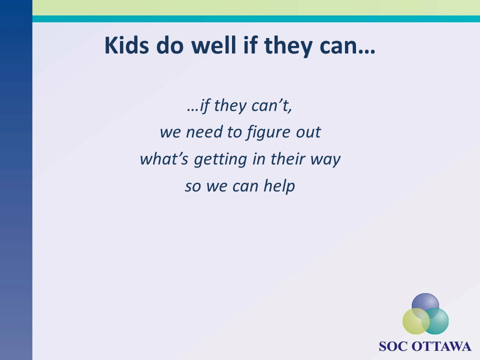 Kids do well if they can…