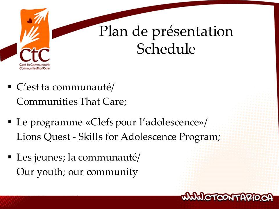 Plan de présentation Schedule C'est ta communauté/