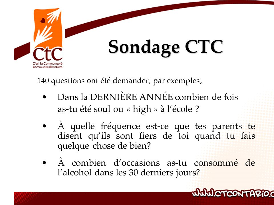 Sondage CTC Dans la DERNIÈRE ANNÉE combien de fois