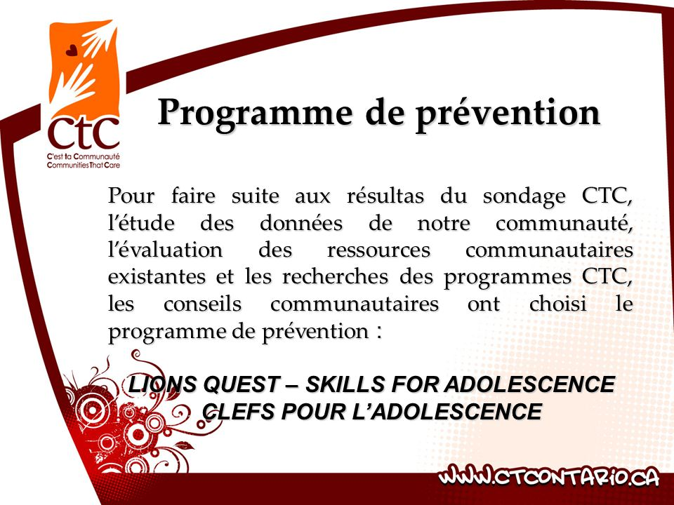 LIONS QUEST – SKILLS FOR ADOLESCENCE CLEFS POUR L'ADOLESCENCE
