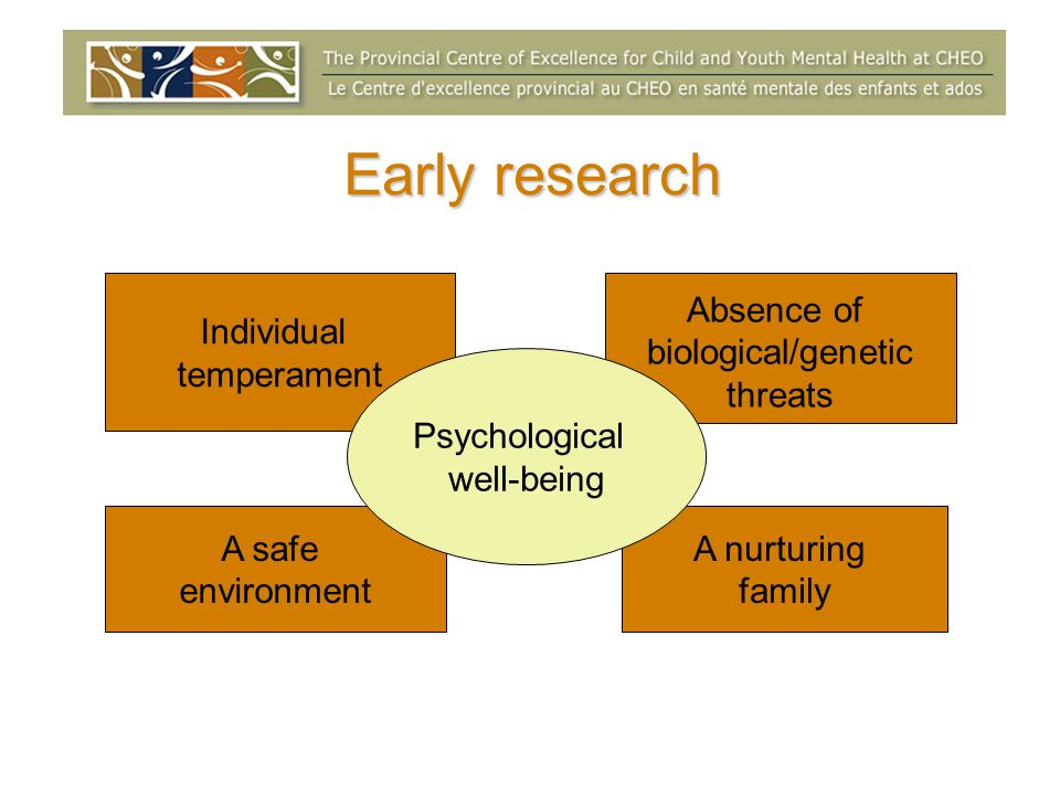 Early research Individual temperament Absence of biological/genetic