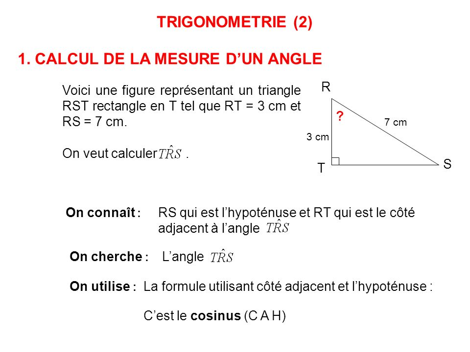 1 calcul de la mesure d un angle ppt video online for Marche d angle calcul