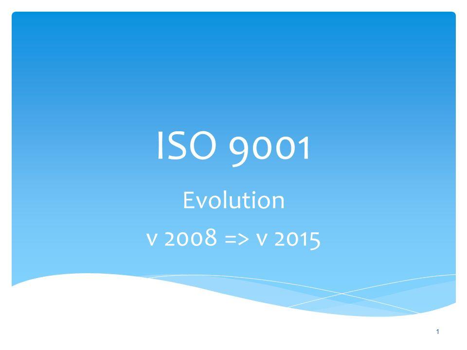 ISO 9001 Evolution v 2008 => v 2015