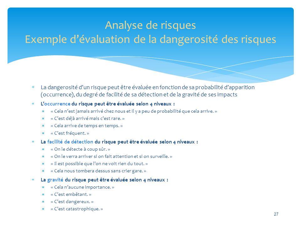 Analyse de risques Exemple d'évaluation de la dangerosité des risques