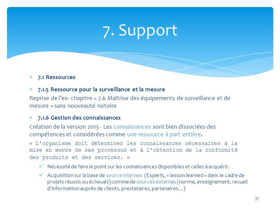 7. Support 7.1 Ressources. 7.1.5 Ressource pour la surveillance et la mesure.
