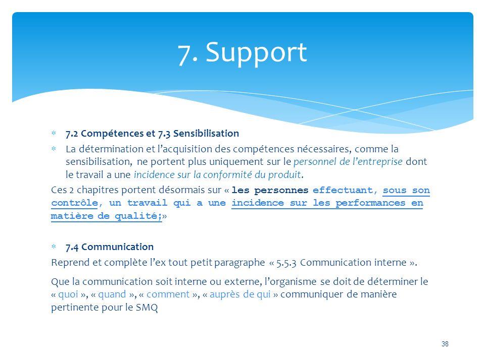 7. Support 7.2 Compétences et 7.3 Sensibilisation