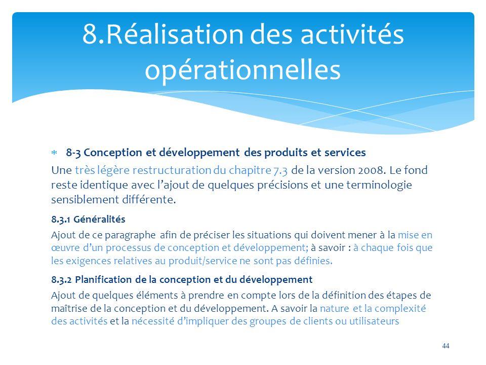 8.Réalisation des activités opérationnelles