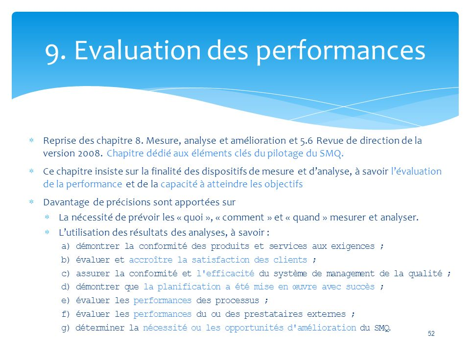 9. Evaluation des performances