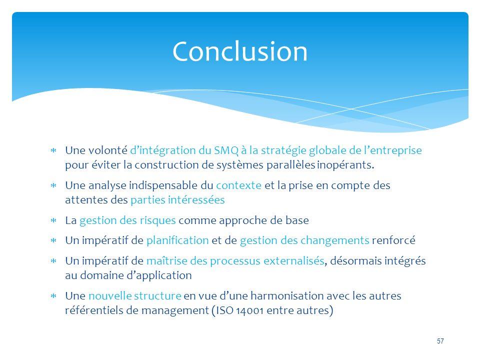 Conclusion Une volonté d'intégration du SMQ à la stratégie globale de l'entreprise pour éviter la construction de systèmes parallèles inopérants.