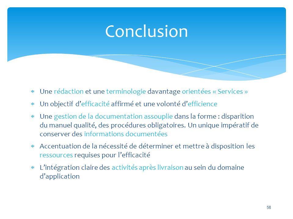 Conclusion Une rédaction et une terminologie davantage orientées « Services » Un objectif d'efficacité affirmé et une volonté d'efficience.