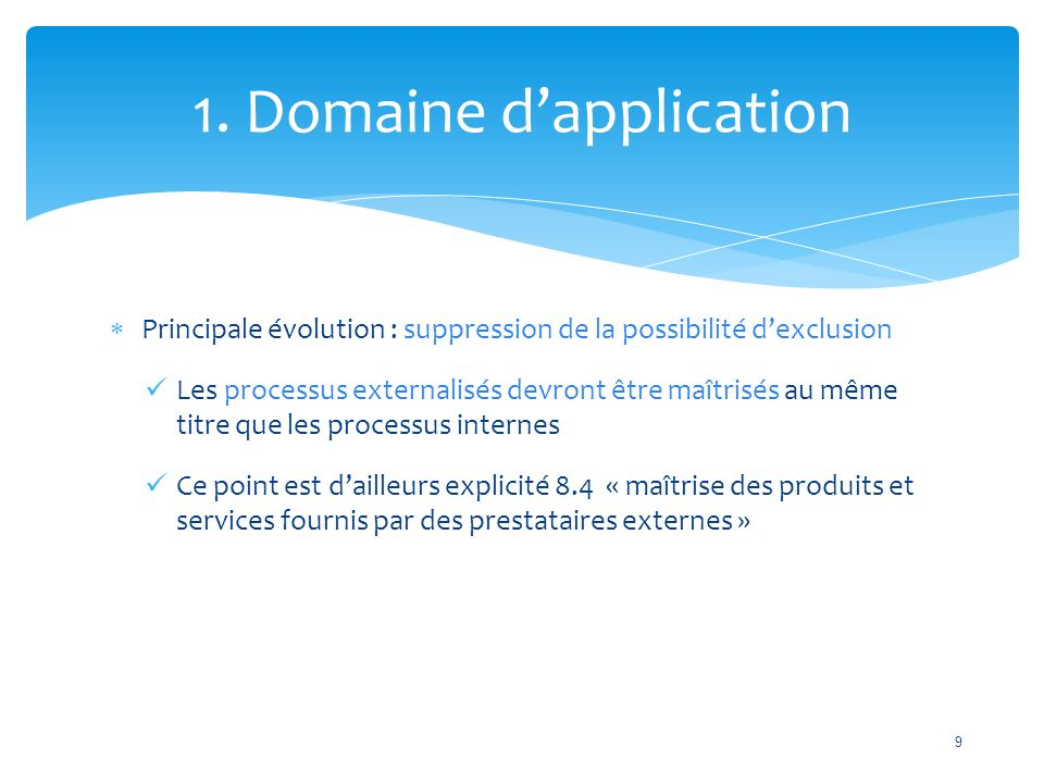 1. Domaine d'application