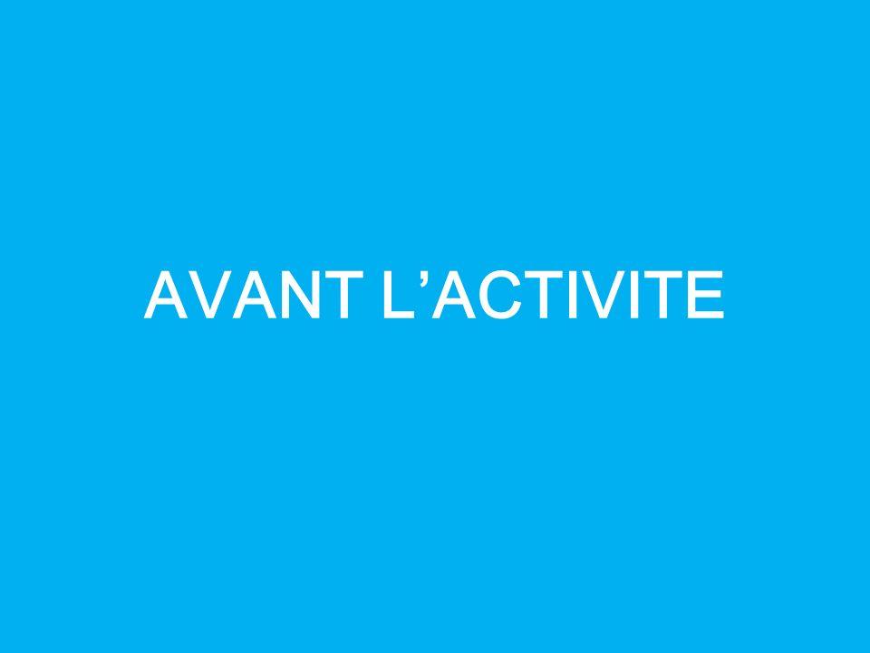 AVANT L'ACTIVITE