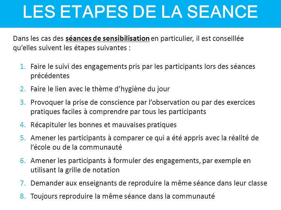 LES ETAPES DE LA SEANCE Dans les cas des séances de sensibilisation en particulier, il est conseillée qu'elles suivent les étapes suivantes :