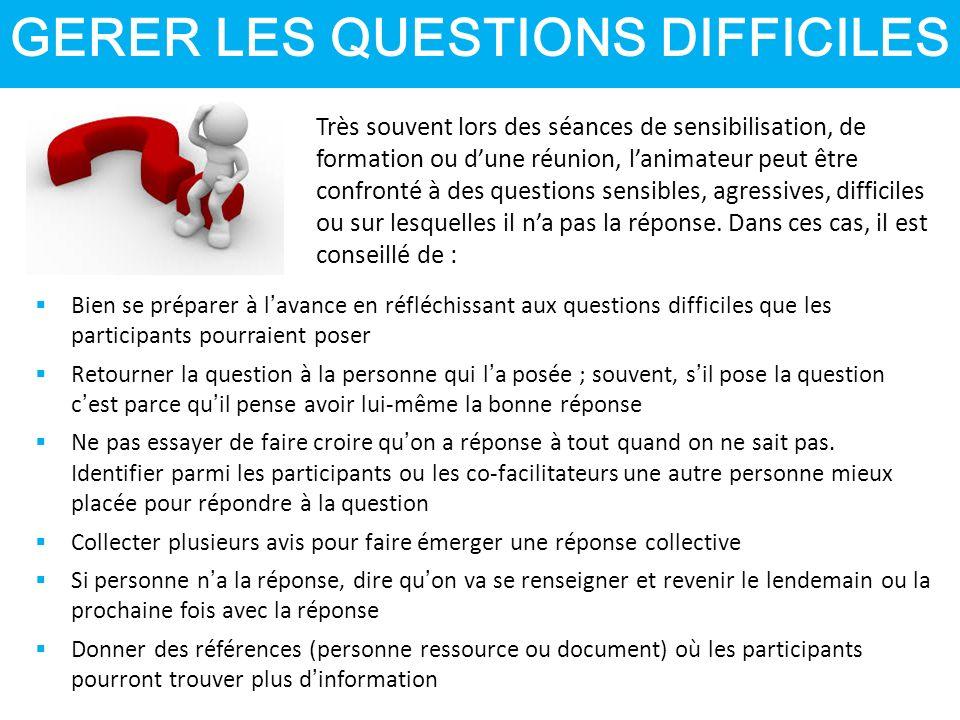 GERER LES QUESTIONS DIFFICILES