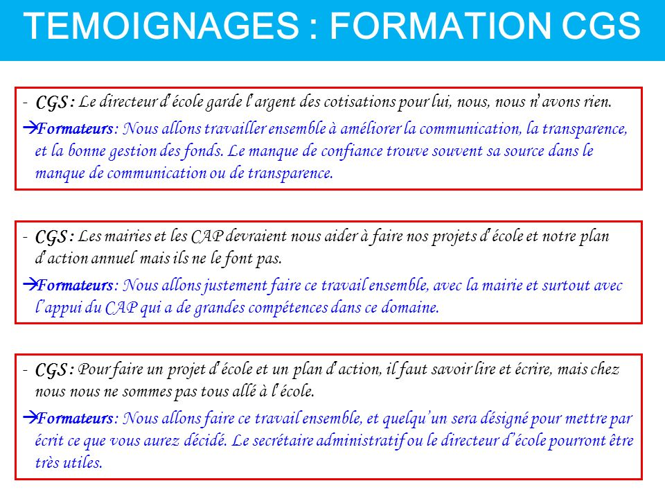 TEMOIGNAGES : FORMATION CGS