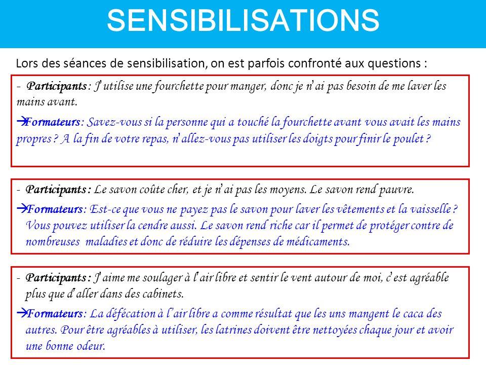SENSIBILISATIONS Lors des séances de sensibilisation, on est parfois confronté aux questions :