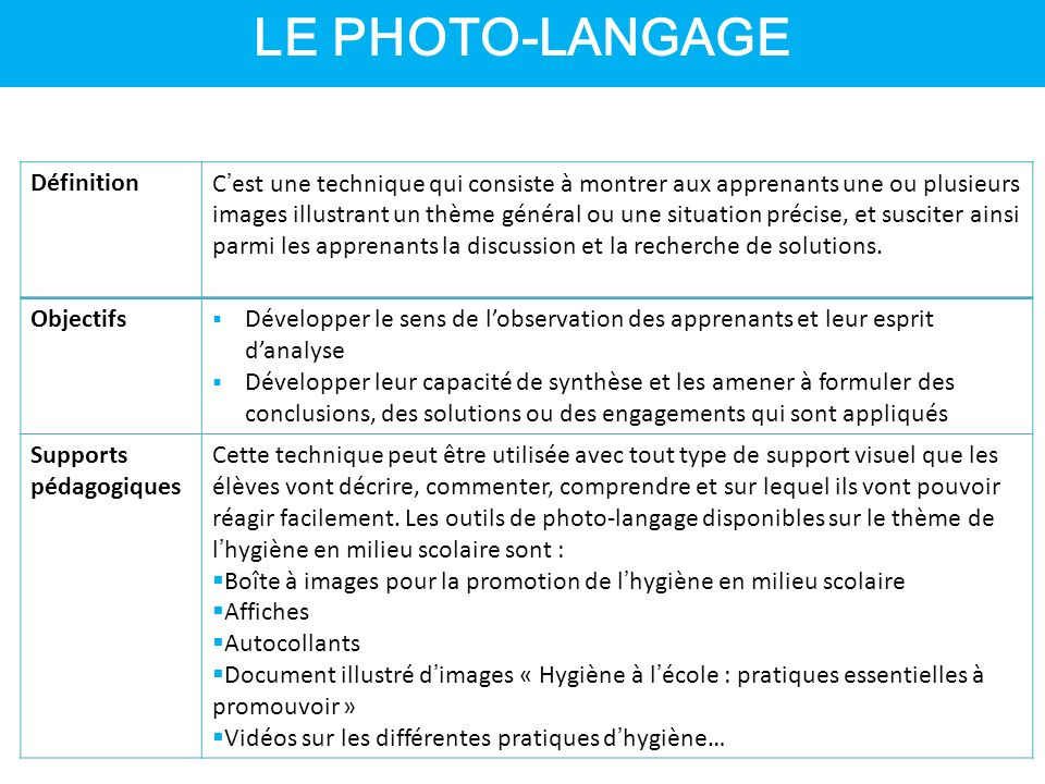 LE PHOTO-LANGAGE Définition