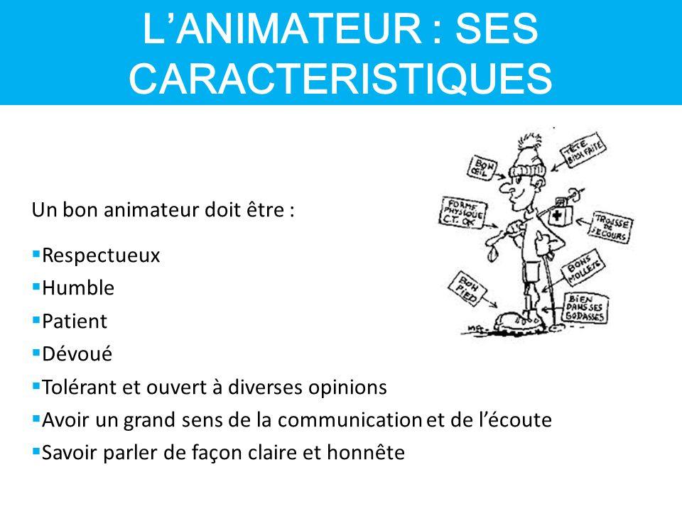 L'ANIMATEUR : SES CARACTERISTIQUES
