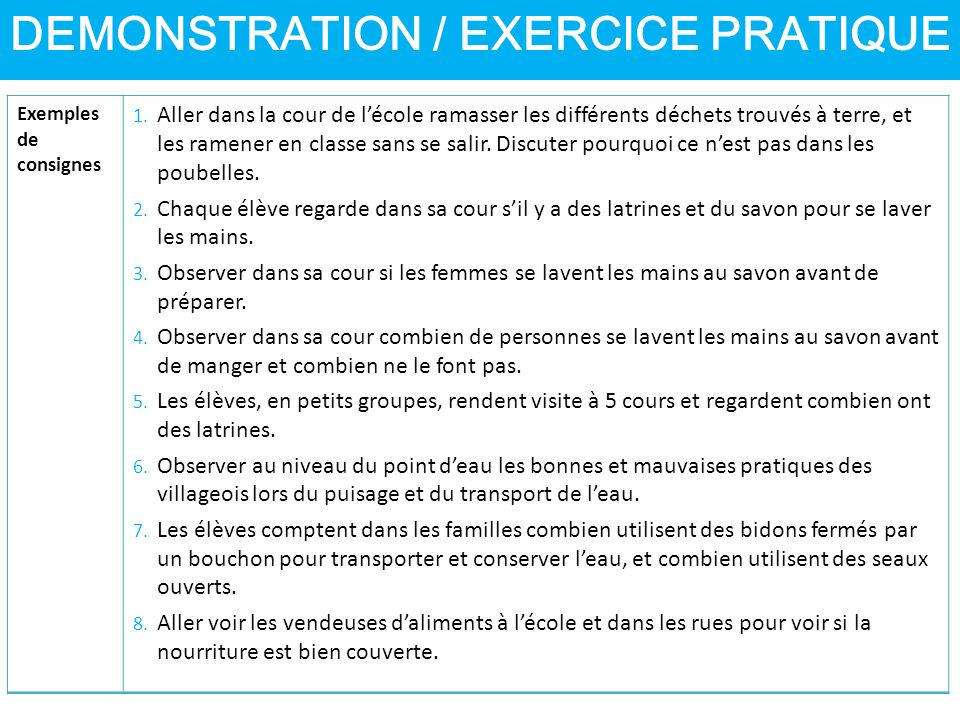 DEMONSTRATION / EXERCICE PRATIQUE