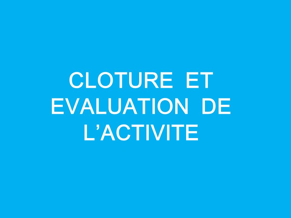 CLOTURE ET EVALUATION DE L'ACTIVITE