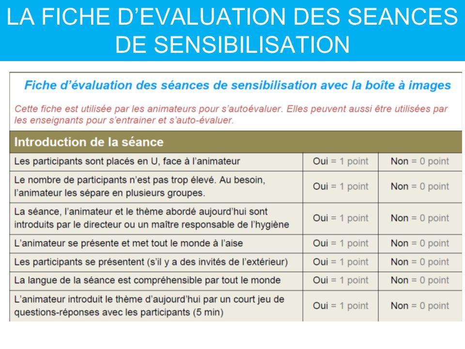 LA FICHE D'EVALUATION DES SEANCES DE SENSIBILISATION