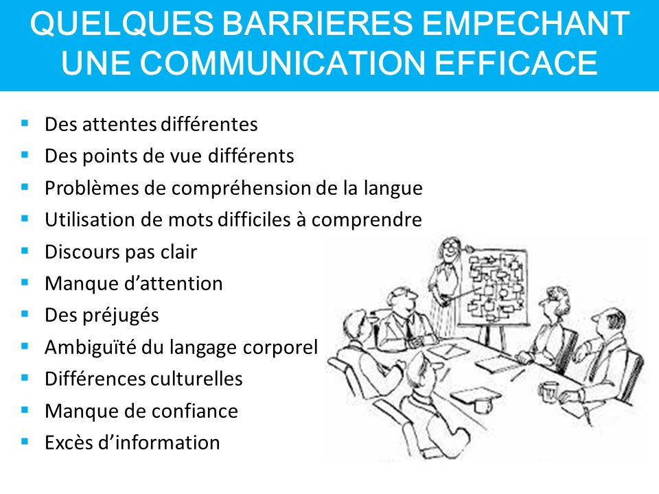 QUELQUES BARRIERES EMPECHANT UNE COMMUNICATION EFFICACE