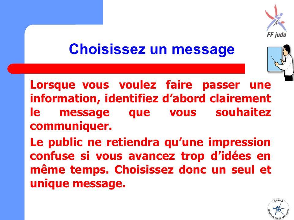 Choisissez un message Lorsque vous voulez faire passer une information, identifiez d'abord clairement le message que vous souhaitez communiquer.