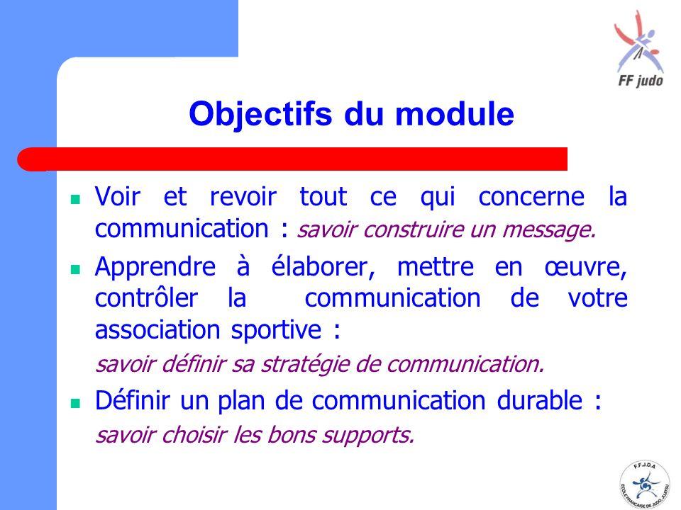 Objectifs du module Voir et revoir tout ce qui concerne la communication : savoir construire un message.