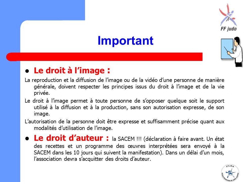 Important Le droit à l'image :