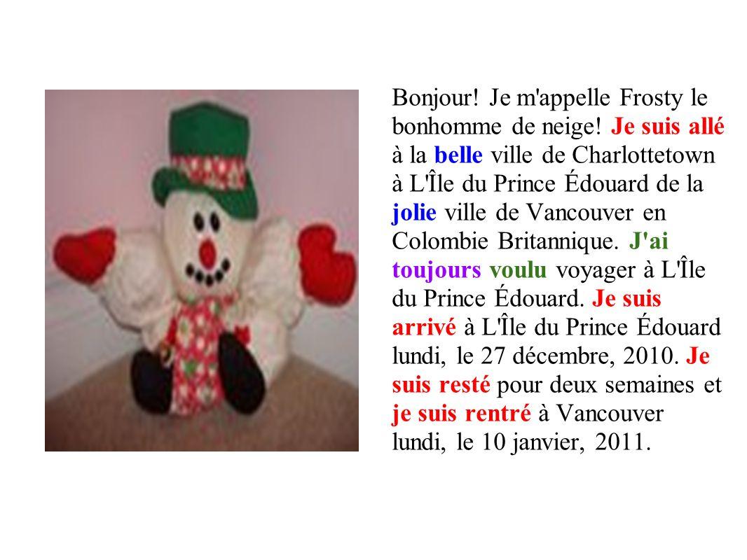 Bonjour. Je m appelle Frosty le bonhomme de neige