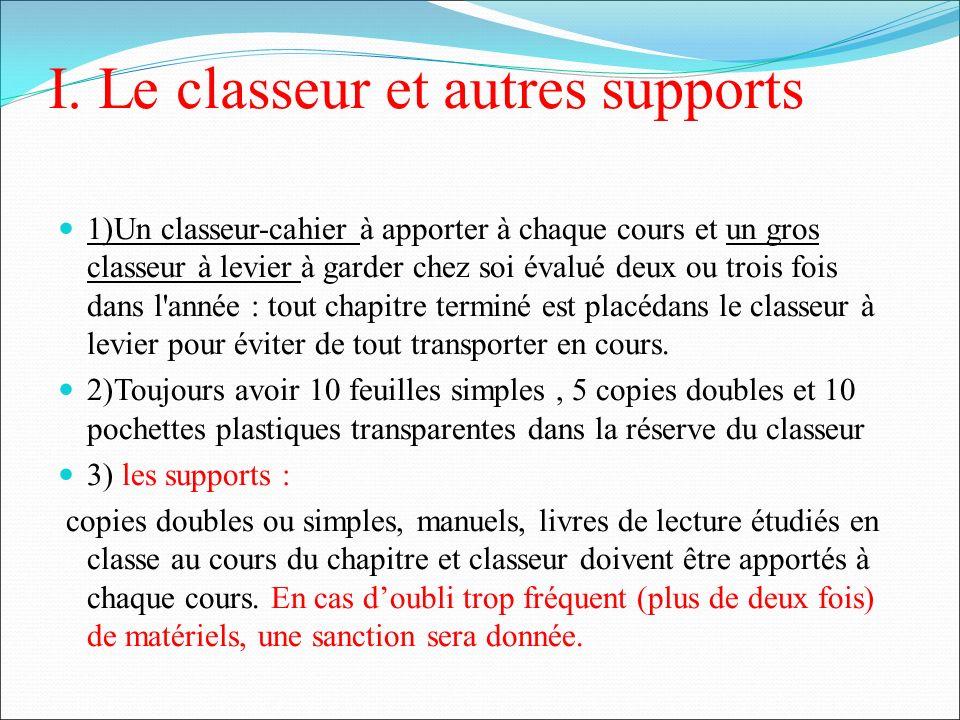 I. Le classeur et autres supports