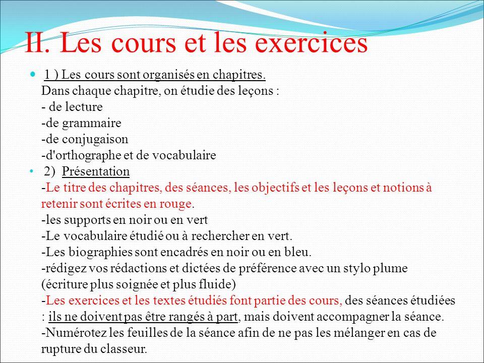 II. Les cours et les exercices