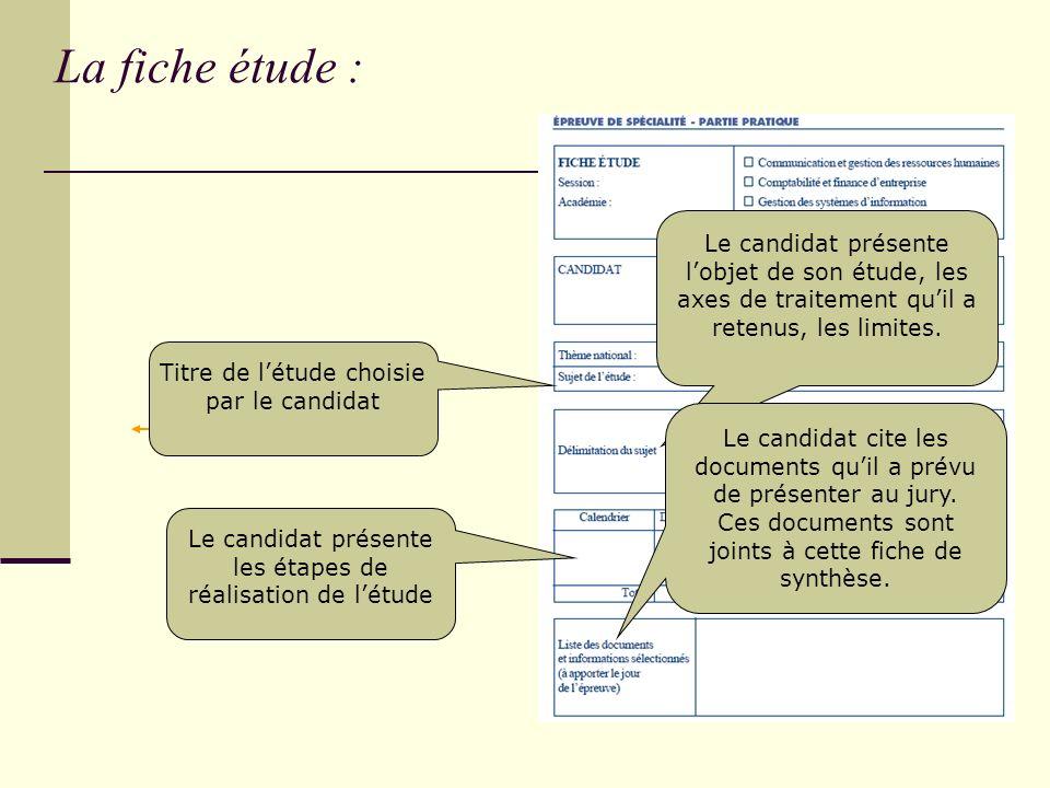 La fiche étude : Le candidat présente l'objet de son étude, les axes de traitement qu'il a retenus, les limites.