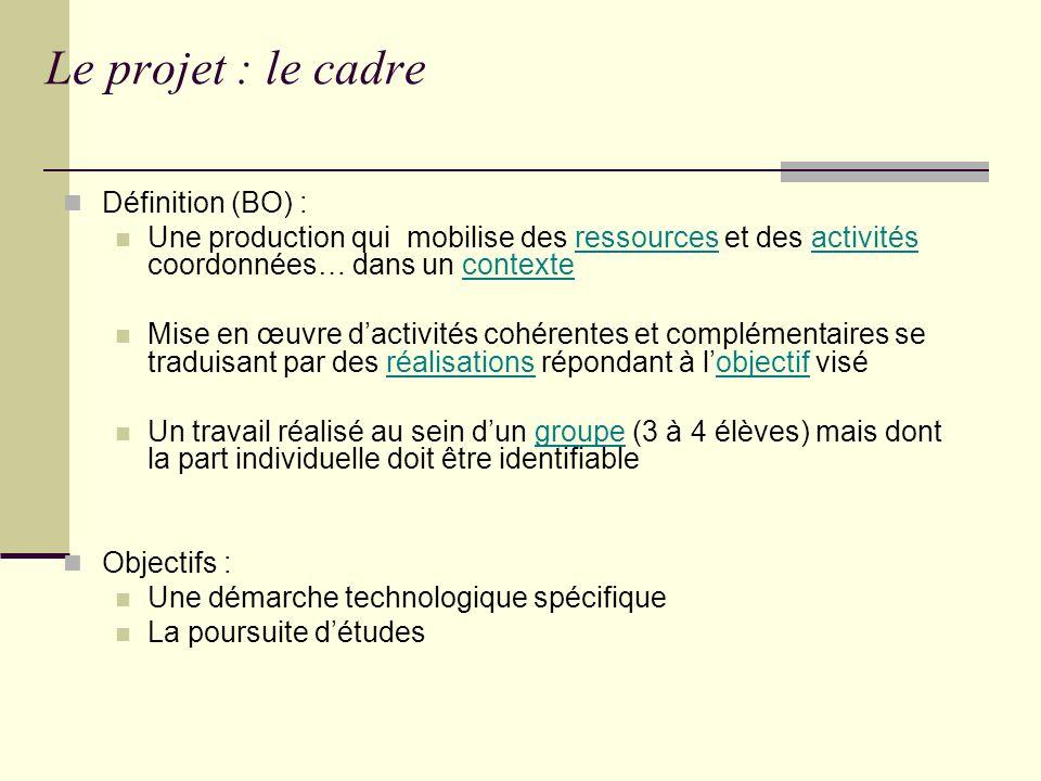 Le projet : le cadre Définition (BO) :