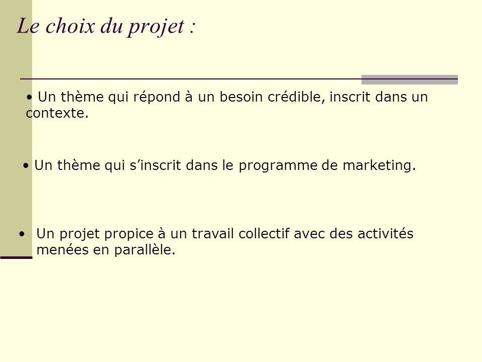 Le choix du projet : Un thème qui répond à un besoin crédible, inscrit dans un contexte. Un thème qui s'inscrit dans le programme de marketing.