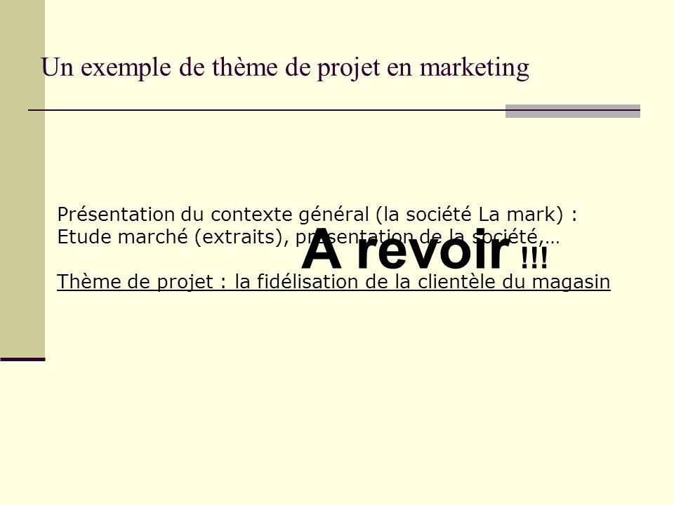 Un exemple de thème de projet en marketing