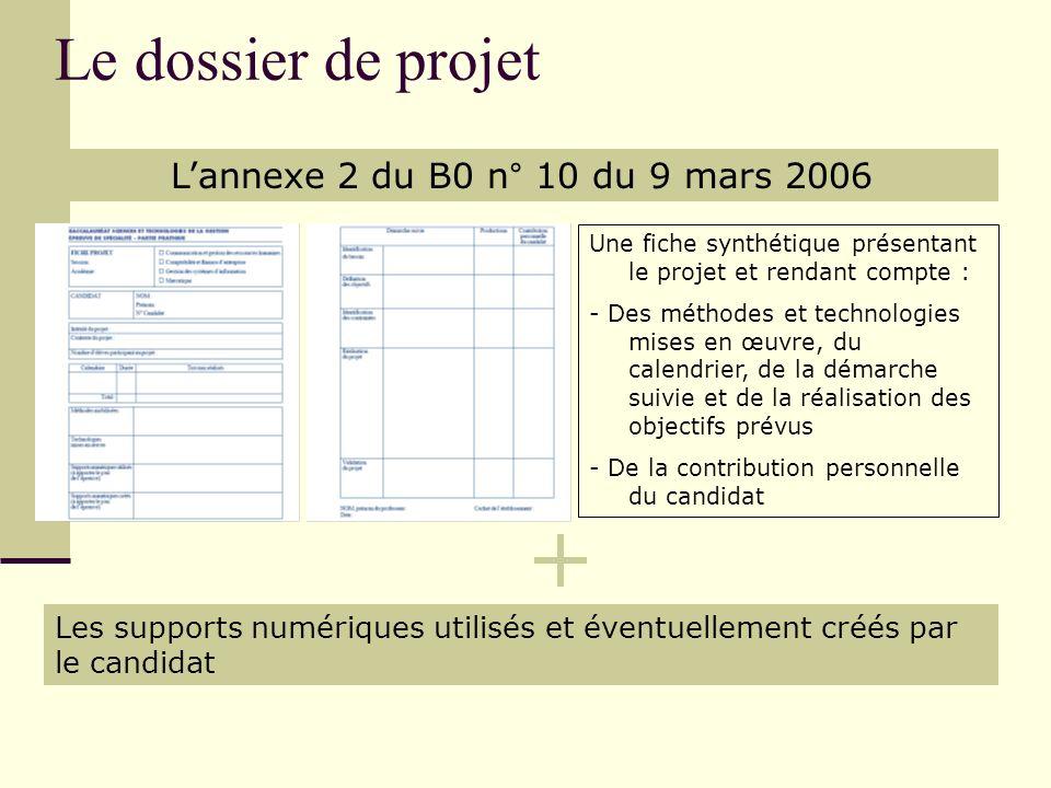 Le dossier de projet L'annexe 2 du B0 n° 10 du 9 mars 2006