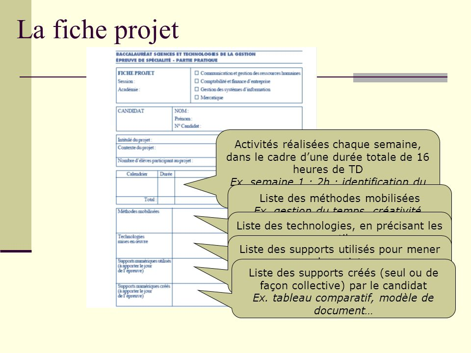 La fiche projet Activités réalisées chaque semaine, dans le cadre d'une durée totale de 16 heures de TD.