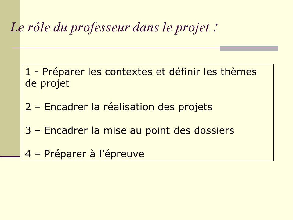 Le rôle du professeur dans le projet :
