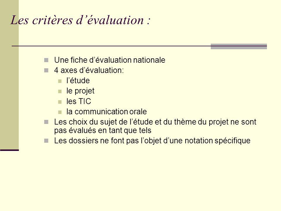 Les critères d'évaluation :