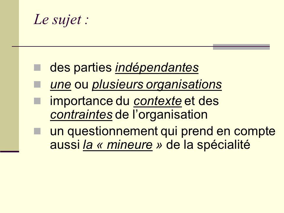 Le sujet : des parties indépendantes une ou plusieurs organisations