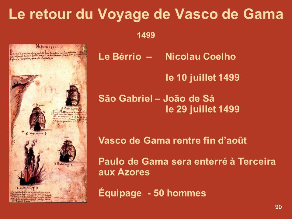Le retour du Voyage de Vasco de Gama 1499