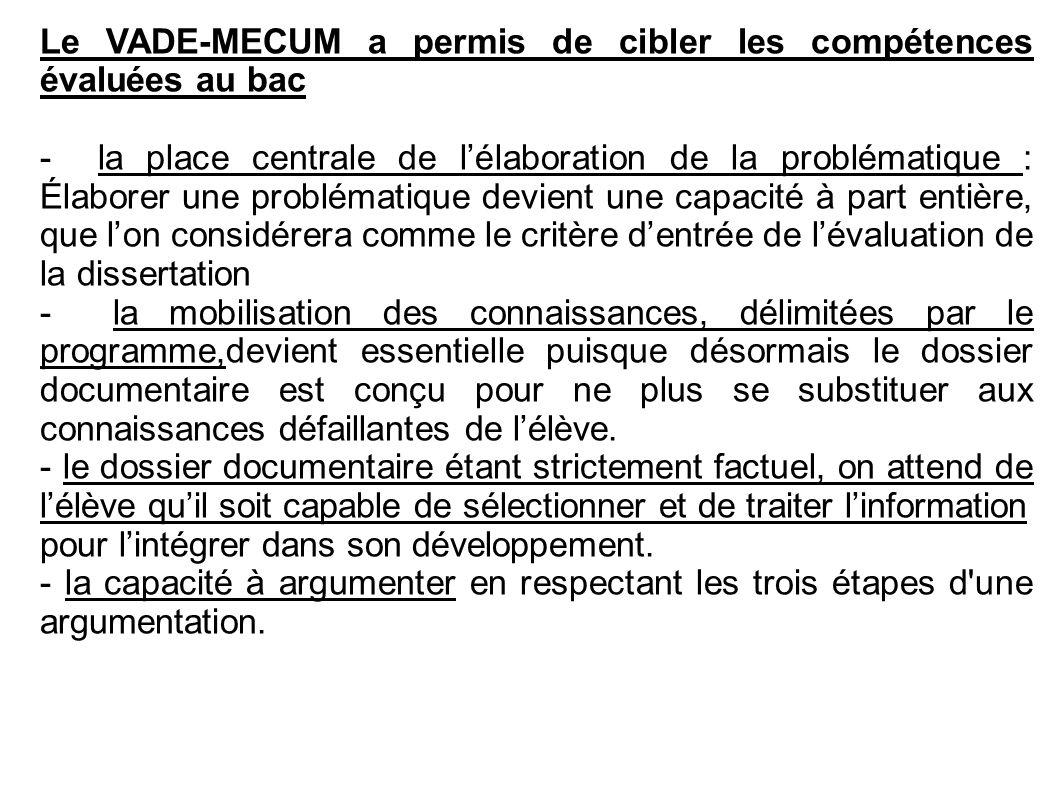 Le VADE-MECUM a permis de cibler les compétences évaluées au bac