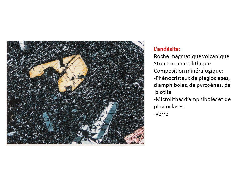 L'andésite: Roche magmatique volcanique. Structure microlithique. Composition minéralogique: