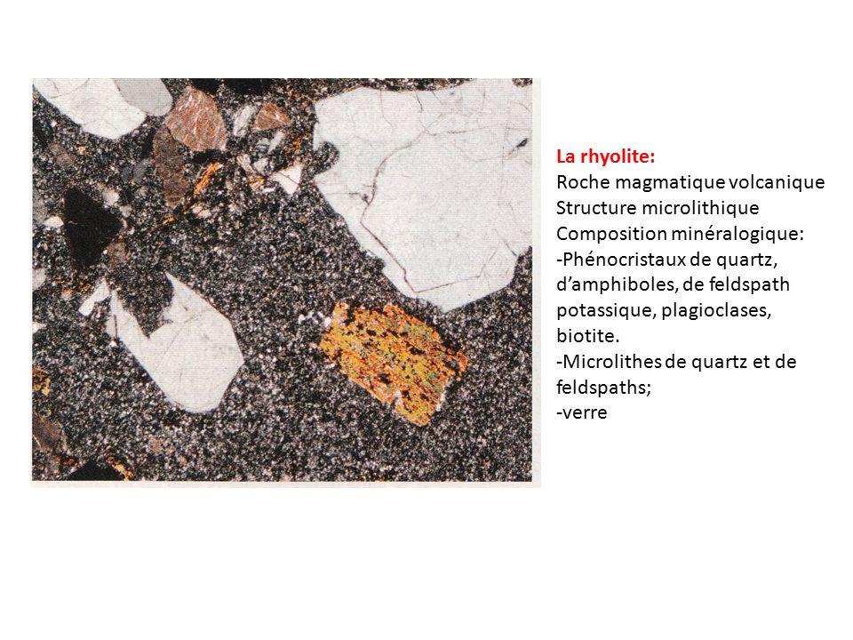 La rhyolite: Roche magmatique volcanique. Structure microlithique. Composition minéralogique:
