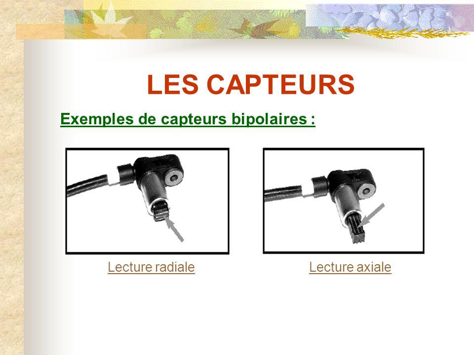 LES CAPTEURS Exemples de capteurs bipolaires : Lecture radiale