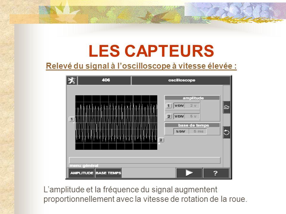 LES CAPTEURS Relevé du signal à l'oscilloscope à vitesse élevée :