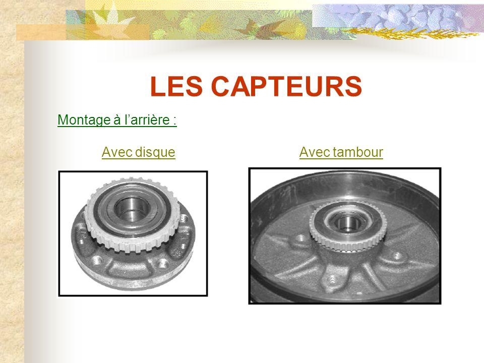 LES CAPTEURS Montage à l'arrière : Avec disque Avec tambour