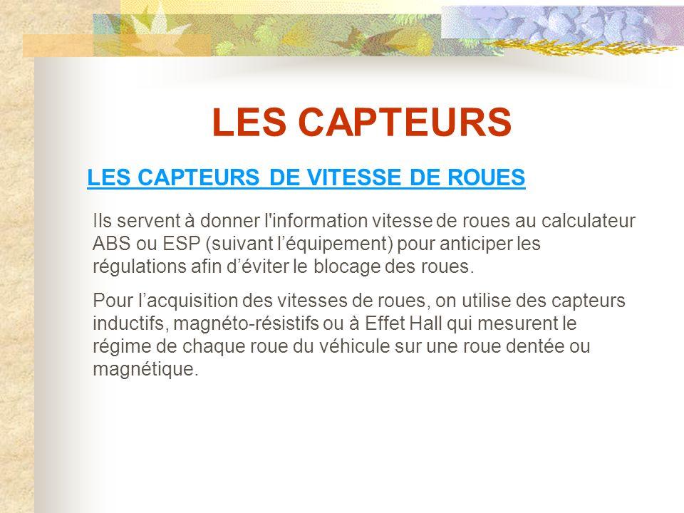 LES CAPTEURS LES CAPTEURS DE VITESSE DE ROUES
